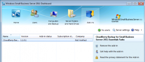CloudBerry Backup Installed in SBS2011E