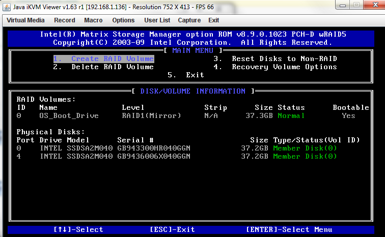Intel Matrix Storage Manager Main Screen Raid 1 Volume