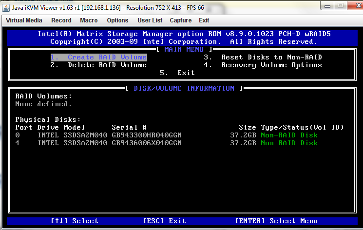 Intel Matrix Storage Manager Main Screen