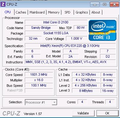 Intel Xeon E3 1220 CPU-Z 1.57