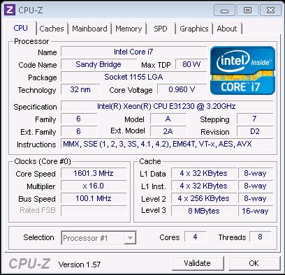Intel Xeon E3-1230 CPU-Z