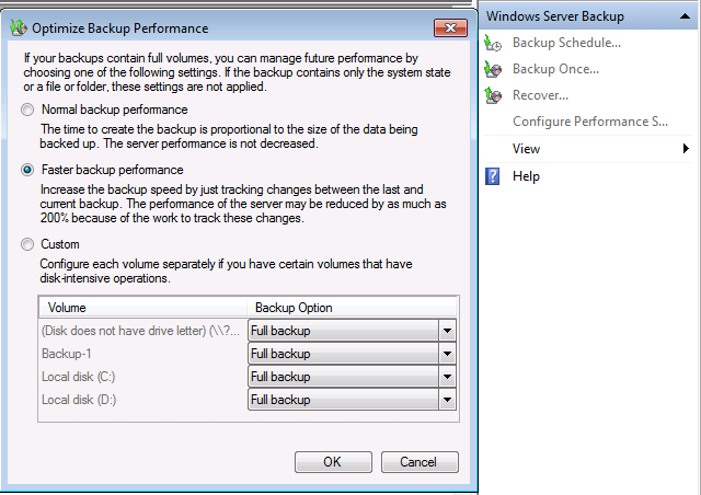Server Manager Backups Configure Performance Options