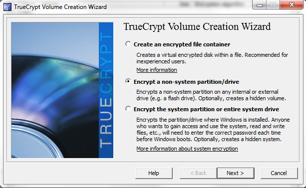 TrueCrypt Encrypt a non-system partition-drive
