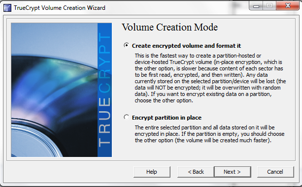 TrueCrypt create encrypted volume and format it