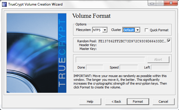 TrueCrypt select file system and move mouse to generate random data then click format
