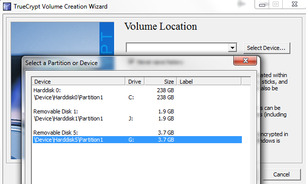TrueCrypt select the correct external drive