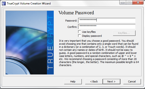 TrueCrypt set volume password