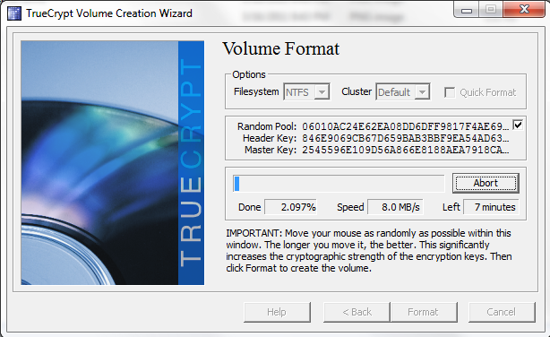TrueCrypt watch the format complete