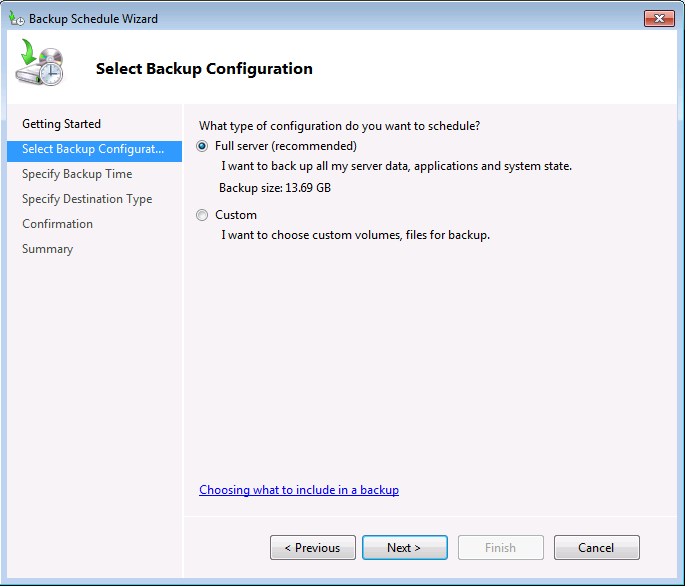 Windows Server Backup Configuration