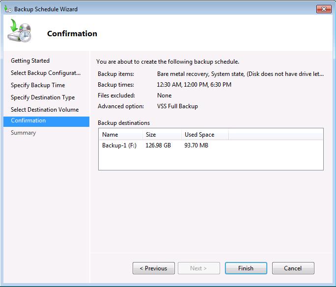 Windows Server Backup Confirmation