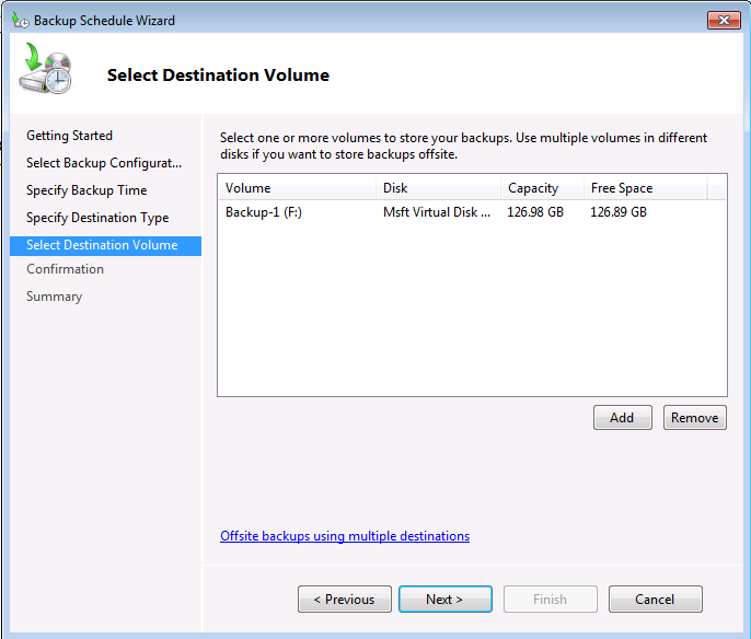 Windows Server Backup Destination Volume