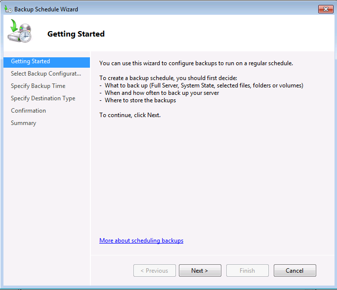 Windows Server Backup Getting Started