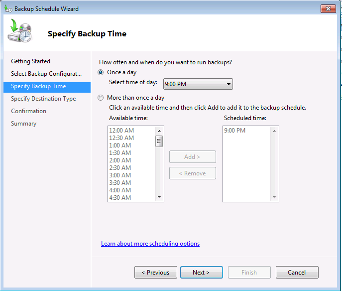 Windows Server Backup Scheduling
