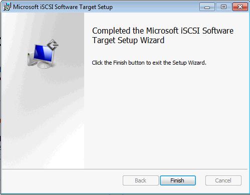Installing Microsoft iSCSI Target - Finish