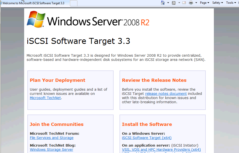 Installing Microsoft iSCSI Target - Installation Start Page