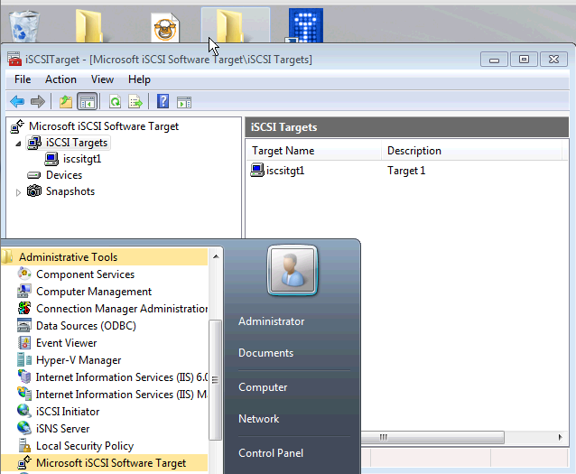 Installing Microsoft iSCSI Target - Installed Under Administrative Tools