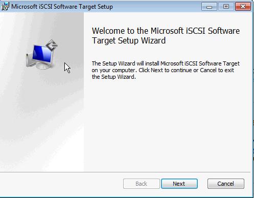 Installing Microsoft iSCSI Target - Wizard Start