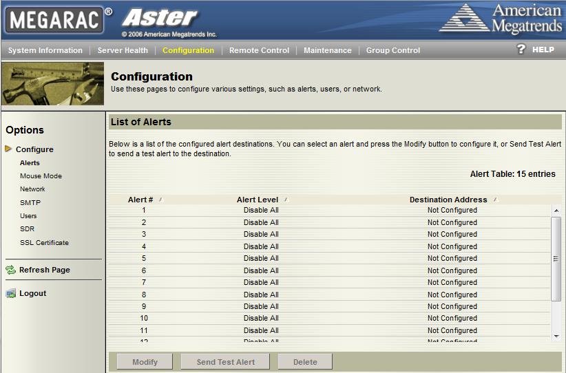 Tyan IPMI WebGUI Configuration - Alerts