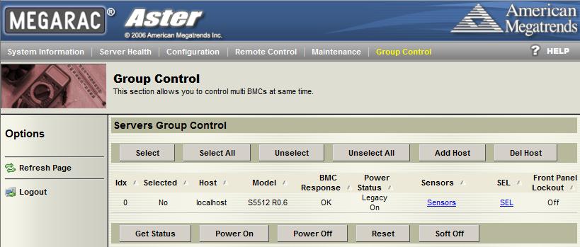 Tyan IPMI WebGUI Group Control