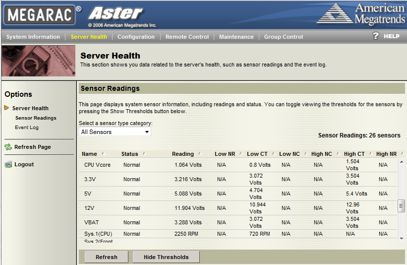 Tyan IPMI WebGUI Server Health - Sensor Readings with Thresholds