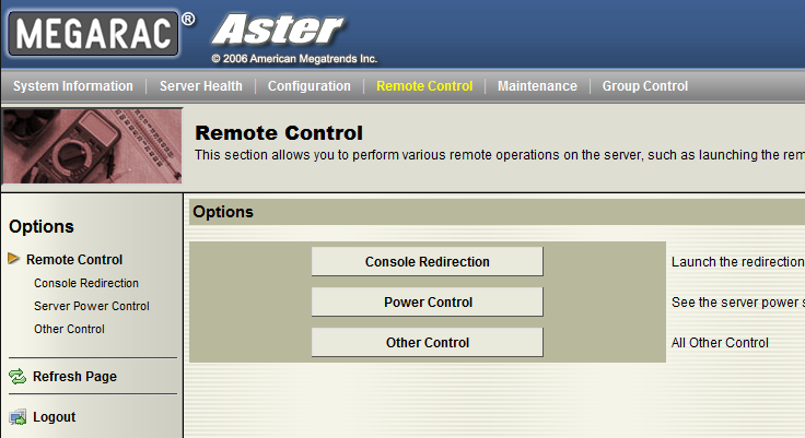 Tyan S8236WGM3NR - Server Control