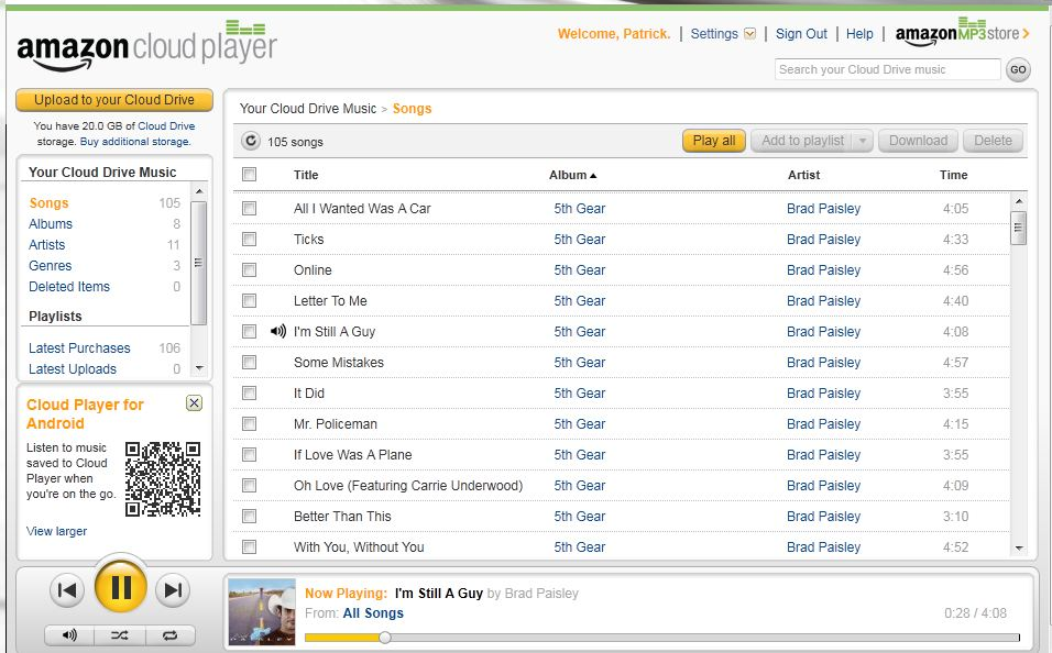 Amazon Cloud Player - Playing an Album from the Cloud