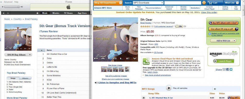 Amazon versus iTunes Brad Paisley 5th Gear