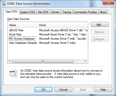 Configure ODBC Data Source Utility