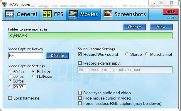 FRAPS Recording Configuration