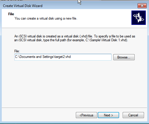 Installing Microsoft iSCSI Target -Create Virtual Disk File path