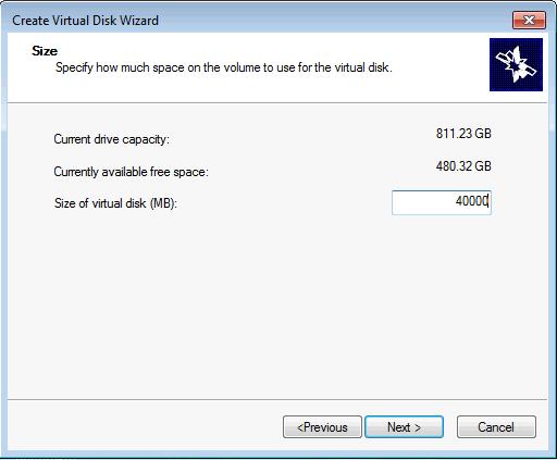 Installing Microsoft iSCSI Target -Create Virtual Disk Size