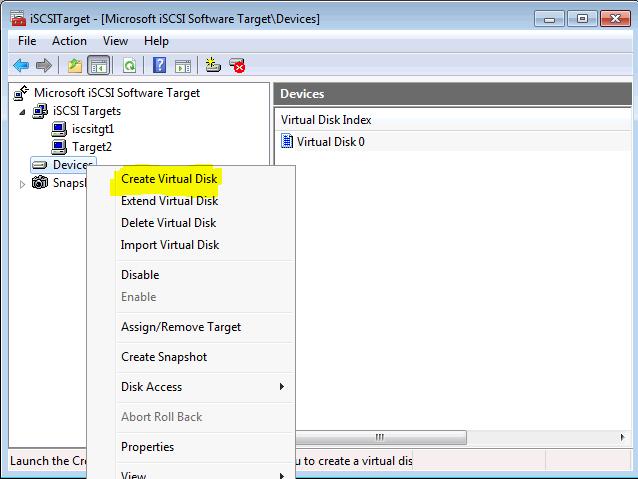 Installing Microsoft iSCSI Target -Create Virtual Disk