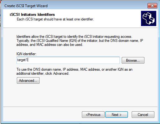 Installing Microsoft iSCSI Target - Create iSCSI Target IQN