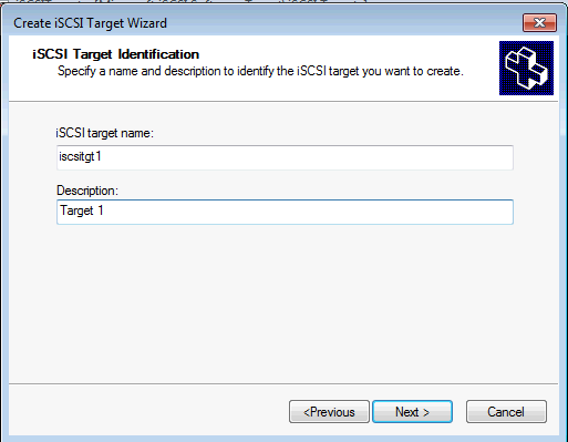 Installing Microsoft iSCSI Target - Create iSCSI Target Wizard Name and Description
