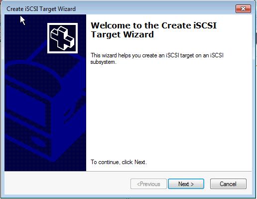 Installing Microsoft iSCSI Target - Create iSCSI Target Wizard