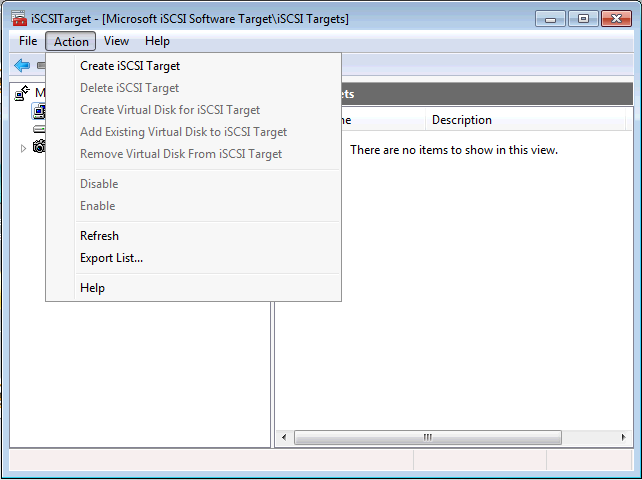 Creating a iSCSI Target with VHD in Windows Server 2008 R2