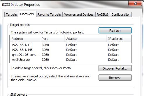 Microsoft iSCSI Initiatior Discovery