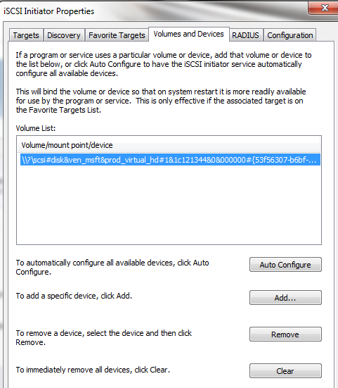 Microsoft iSCSI Initiatior Volumes and Devices