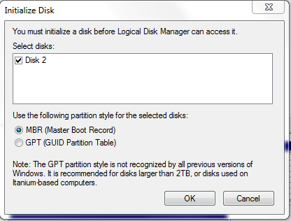Microsoft iSCSI Initiatior iSCSI Disk in Disk Management