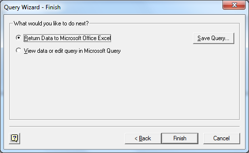 Return Data to Microsoft Office Excel