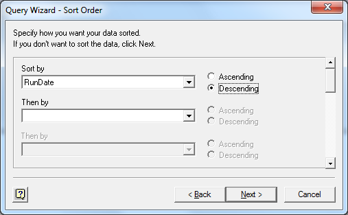 Select Data Sort Order