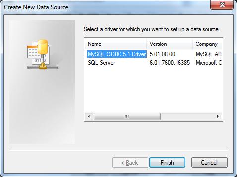 Select MySQL ODBC Driver