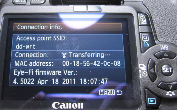 Canon T2i Eye-Fi Menu