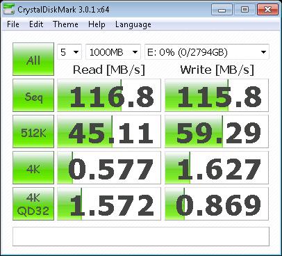 Hitachi 5K3000 3TB - CrystalDiskMark