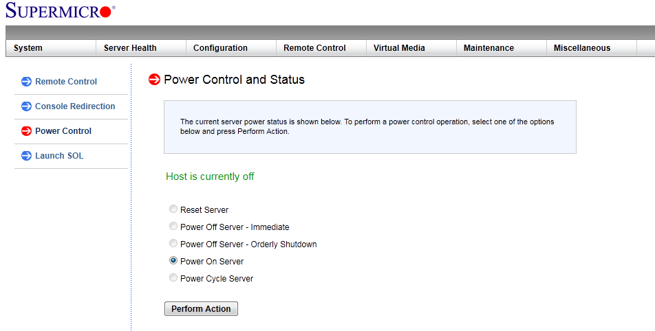 Power On Server via IPMI 2.0