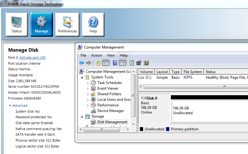 RST 2.8GB and Disk Management 746GB