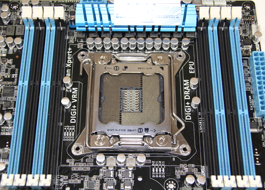 ASUS P9X79 LGA 2011 Socket and DIMMs