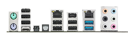 ASUS P9X79 WS Rear IO Ports