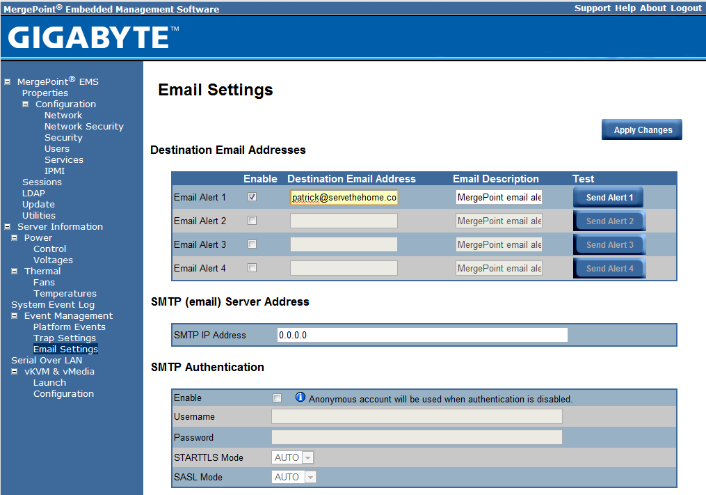 Gigabyte IPMI Management Email Settings