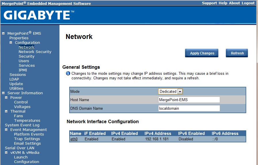 Gigabyte IPMI Management Network Settings